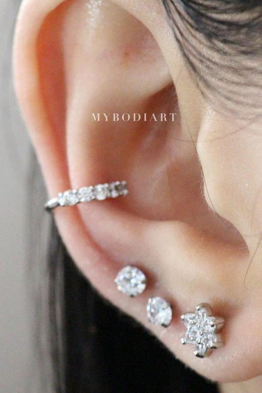 Cute Multiple Ear Piercing Jewelry Ideas for Women for Cartilage Helix Tragus Earring Stud 16G - www.MyBodiArt.com #piercing #earrings