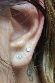 Minimalist Ear Piercing Ideas at MyBodiArt.com - Double Crystal Earring Studs 16G