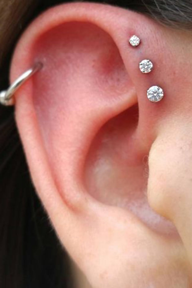 Simple Triple Forward Helix Ear Piercing Ideas for Women - Swarovski Crystal Earring Studs 16G -  www.MyBodiArt.com