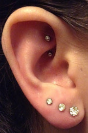 Classy Ear Piercing Ideas Multiple Triple Crystal Earring Studs - Rook Daith Barbell 16G - www.MyBodiArt.com