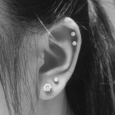 Cute Double Crystal Ear Piercing Jewelry Earring Studs 16G Ideas for Women -  ideas de joyería piercing de oreja - www.MyBodiArt.com #piercings