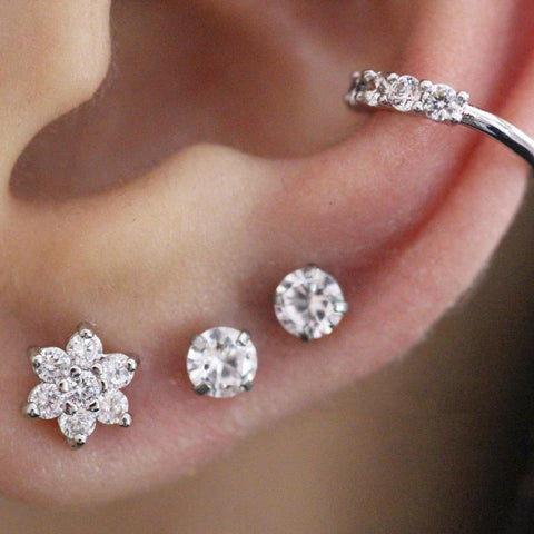 Cute Multiple Ear Piercing Jewelry Placement Combinations Crystal Earring Stud Barbell 16G for Cartilage, Helix, Tragus, Conch - www.MyBodiArt.com
