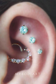 Gemina Double Crystal Ear Piercing Stud