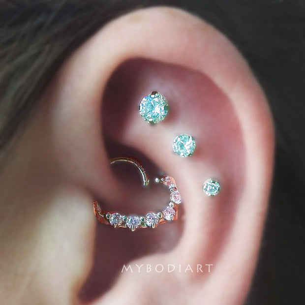 Cute Triple Cartilage Helix Ear Piercing Jewelry Ideas for Women - www.MyBodiArt.com #earrings #piercings
