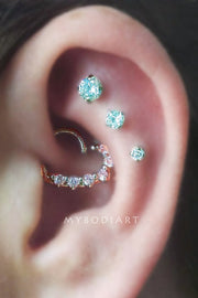 Cute Triple Cartilage Ear Piercing Ideas for Women Crystal Heart Daith Earring - lindas ideas para perforar orejas para mujeres - www.MyBodiArt.com