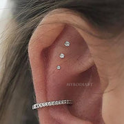 Cute Triple Crystal Cartilage Helix Ear Piercing Jewelry Ideas for Women - ideas de piercing de cartílago triple - www.MyBodiArt.com #earrings #earpiercings