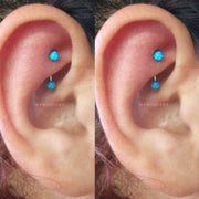 Blue Opal Rook Ear Piercing Jewelry Ideas Curved Barbell 16G - www.MyBodiArt.com #piercing