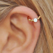 Cute Cartilage Ear Piercing Ideas - Simple Gold Opal Helix Hoop Earring for Women Teens Girls -  ideas de piercing de oreja de cartílago lindo - www.MyBodiArt.com