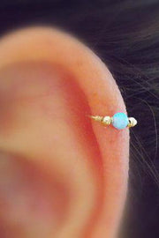 Minimalist Simple Unique Cute Ear Piercing Ideas at MyBodiArt.com - Boho Bohemian Outfits Style Ideas - Opal Tragus, Cartilage, Helix, Rook, Daith, Conch Earrings Fashion Jewelry - MyBodiArt