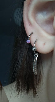 Cute Double Lobe Earring Ear Piercing Ideas at MyBodiArt.com - Opal Ring Hoop 16G