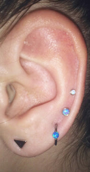 Cute Multiple Ear Piercing Ideas Combinations - Blue Opal Ring Hoop 16G - Double Earring Studs - MyBodiArt.com
