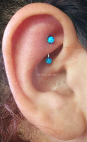 Simple Cute Rook Ear Piercing Ideas for Teens Girls for Women Blue Opal Ball Curved Barbell Earring Jewelry 16G -  ideas de perforación de la oreja linda torre para las mujeres - www.MyBodiArt.com