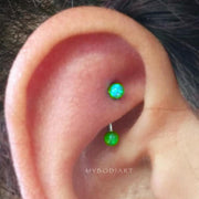 Simple Cute Green Opal Rook Ear Piercing Ideas for Teens Girls for Women Blue Opal Ball Curved Barbell Earring Jewelry 16G -  ideas de perforación de la oreja linda torre para las mujeres - www.MyBodiArt.com