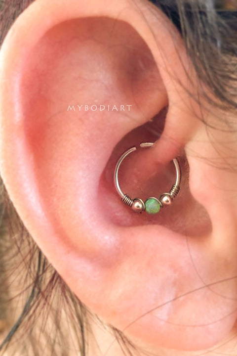 SImple Cute Daith Opal Green Ear Piercing Jewelry Ideas in Silver 16G -  lindo oreja joyas piercing ideas - www.MyBodiArt.com