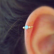 Cute Minimalist Opal Cartilage Ear Piercing Jewelry Ideas for Women for Teen Girls -  Ideas de piercing de oreja de cartílago lindo para las mujeres - www.MyBodiArt.com