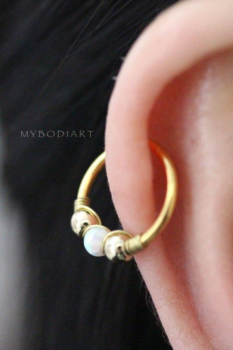 Cute Cartilage Ear Piercing Ideas - Gold Opal Helix Hoop Earring for Women Teens Girls -  ideas de piercing de oreja de cartílago lindo - www.MyBodiArt.com