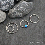 Opal Ear Piercing Jewelry for Cartilage, Helix, Conch, Daith, Rook or Septum Ring - www.MyBodiArt.com