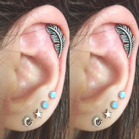 Cute Feather Leaf Cartilage Ear Piercing Jewelry Ideas for Women Multiple Earring Studs -  joyería de piercing de oreja de cartílago de plumas lindo - www.MyBodiArt.com