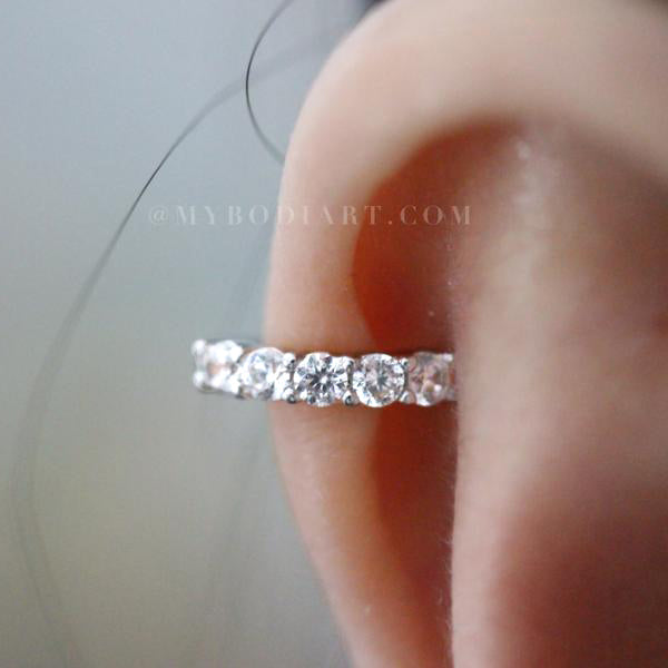 Simple Cartilage Ear Piercing Ideas for Women - Crystal Ear Cuff Earring Helix 16G -  Cartilago simple piercing en la oreja ideas - www.MyBodiArt.com
