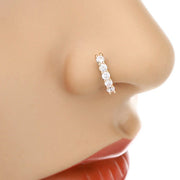 Classy Nose Piercing Hoop Fake Crystal Diamond Ring- www.MyBodiArt.com