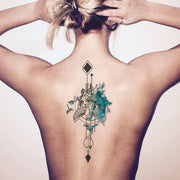 Popular Watercolor Bird Arrow Back Spine Tattoo Ideas for Women -  Ideas de tatuaje de nuevo pájaro fresco - www.MyBodiArt.com