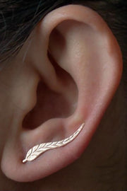 Cute Multiple Ear Piercing Ideas for Women Leaf Rose Gold Ear Climber Earring Cartilage Helix Cuff - www.MyBodiArt.com