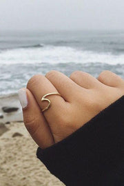 Cute Minimalist Surf Wave Beach Ocean Dainty Boho Ring for Women Teen Girls Fashion Jewelry in Silver, Rose Gold, Gold - www.MyBodiArt.com