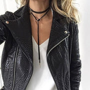 How to Wear a Black Lace up Wrap Choker Necklace Outfit Ideas - Black Motorcycle Leather Jacket at MyBodiArt.com