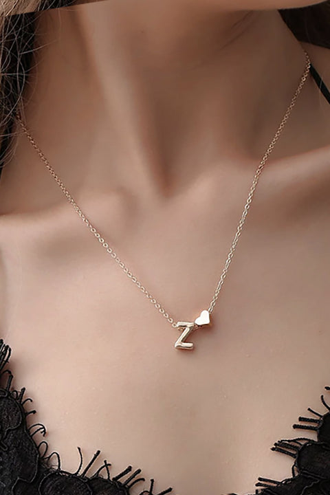 Cute Simple Personalized Letter Initial Heart Pendant Chain Necklace Fashion Jewelry for Women -  lindos collares de cadena para mujer - www.MyBodiArt.com #neckalces