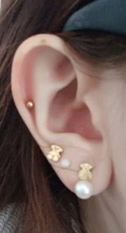 Cute Multiple Ear Piercing Ideas Gold Cartilage Earring Stud Triple Lobe Jewelry - www.MyBodiArt.com