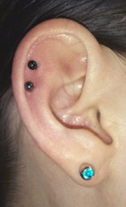 Cute Ear Piercing Ideas - Cartilage Double Black Earring Studs Jewelry Jewellery - www.MyBodiArt.com