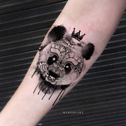 Cute Melting Panda Black and White Forearm Temporary Tattoo Ideas for Women - www.MyBodiArt.com