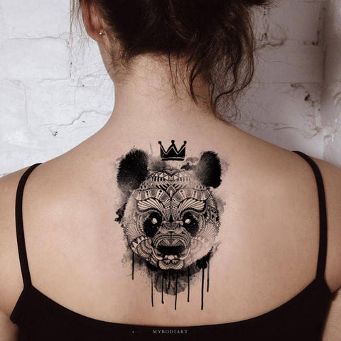 Cute Melting Panda Black and White Back Temporary Tattoo Ideas for Women - www.MyBodiArt.com