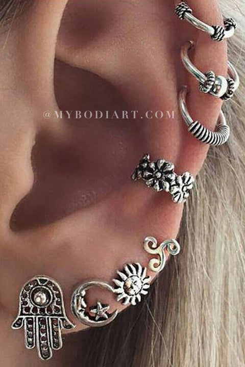 Boho Multiple Ear Piercing Ideas in Antiqued Silver Ear Cuff Earrings Ring Flower Hoops Hamsa Sun Moon Studs Jewelry -  ideas tribales piercing de la oreja tribales para las mujeres - www.MyBodiArt.com