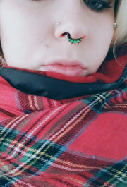 Black Septum Ring with Green Opal Septum Piercing Jewelry at MyBodiArt.com