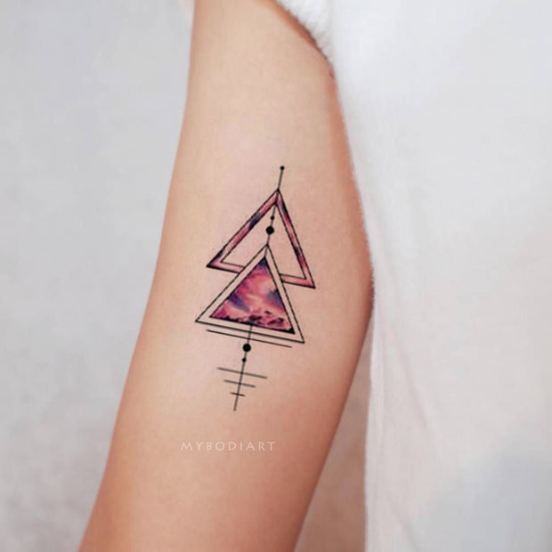 Cute Pink Watercolor Geometric Shape Arm Bicep Tattoo Ideas for Women - www.MyBodiArt.com