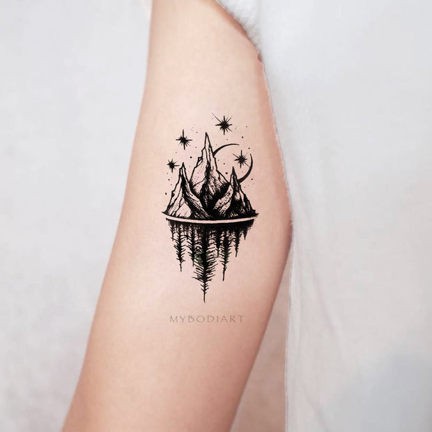 Womens Unique Nature Bicep Arm Tattoo Ideas Mountain Trees Moon Stars Nature - www.MyBodiArt.com