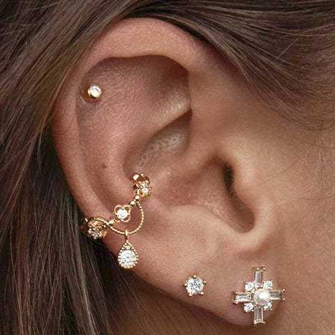 Cute Crystal Gold Ear Cuff Earring for Women Fashion Jewelry -  lindo arete de oreja - www.MyBodiArt.com