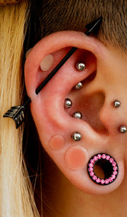 Tribal Ear Piercing Ideas - Black Industrial Arrow Heart Barbell - Multiple Cartilage Helix Rook Daith Tragus Silver Earring Studs - www.MyBodiArt.com