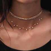 Statement Jewelry Necklace for Women - Double Layered Floating Beaded Choker in Gold - www.MyBodiArt.com #necklace