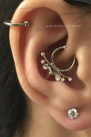 Tribal Boho Ear Piercing Jewelry Ideas for Women Crystal Earring Stud 16G for Cartilage Helix Tragus - www.MyBodiArt.com #piercings #earrings