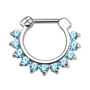 Brice Swarovski Crystal Septum Daith Clicker in Silver Ring Hoop Earring Jewelry 16G in Silver & Blue Crystal  - www.MyBodiArt.com