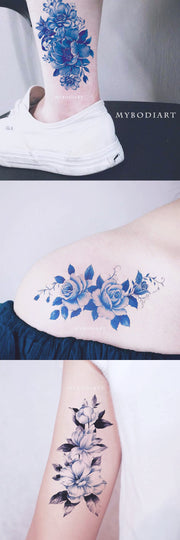 Vintage Cute Watercolor Blue Floral Flower Tattoo Ideas for Women -  ideas de tatuajes de flores azules para mujeres - www.MyBodiArt.com #tattoos