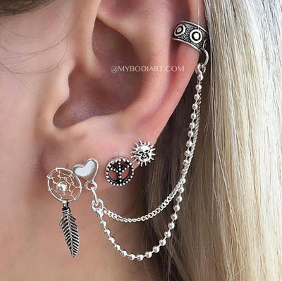 Ear Piercing Ideas for Girls - Boho Antiqued Tribal Earring Stud Set Ear Cartilage Cuff - www.MyBodiArt.com