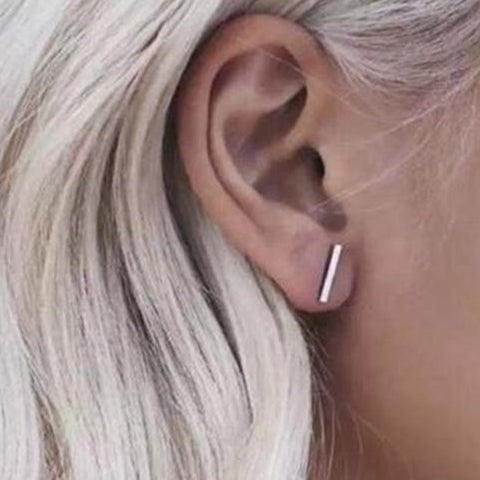 Cite Minimalist T Bar Earrings Fashion Jewelry Simple Ear Piercing Ideas for Women - www.MyBodiArt.com