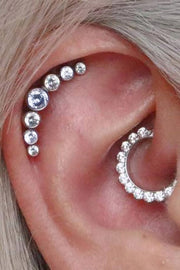 Cute Mutliple Ear Piercing Jewelry Ideas for Women Daith Earring Clicker 5 Crystal Cartilage Stud - www.MyBodiArt.com