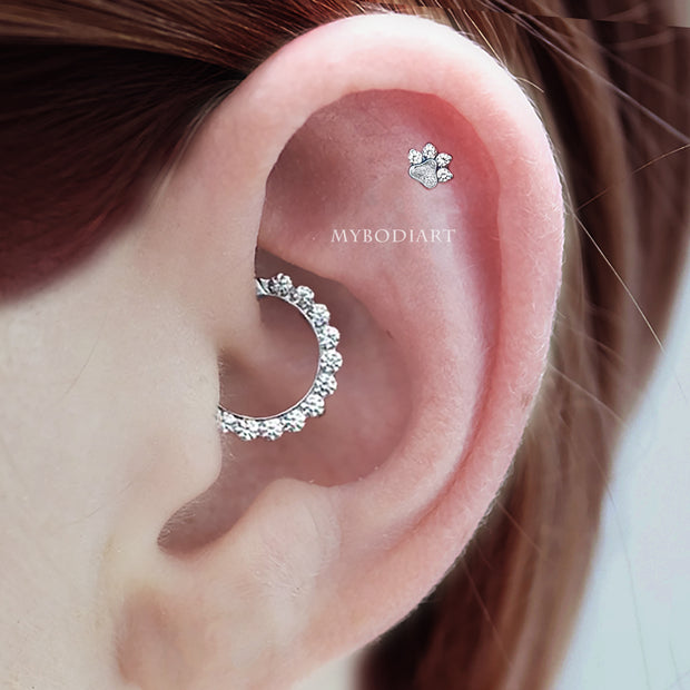 Simple Cute Daith Hoop Clicker Ring 16G Ear Piercing Jewelry Placement Ideas for Women -  linda joyería piericng oreja  - www.MyBodiArt.com