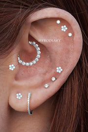 Simple Cute Multiple Daith Hoop Clicker Ring 16G Ear Piercing Jewelry Placement Ideas for Women -  linda joyería piericng oreja  - www.MyBodiArt.com