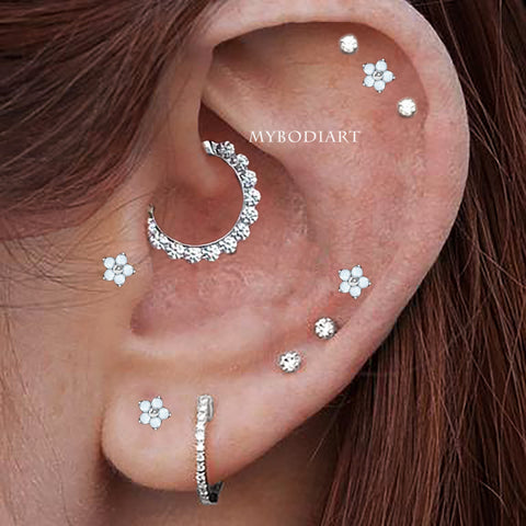 Multiple Cute Ear Piercing Jewelry Ideas for Women Crystal Ring Hoop 16G Daith for Women -  lindas ideas para perforar orejas - www.MyBodiArt.com #daith #earrings