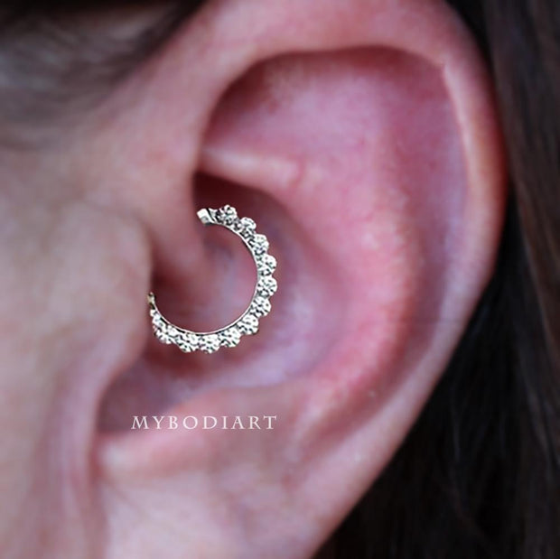 Cute Daith Ear Piercing Jewelry Ideas Crystal Clicker Ring Hoop Earring 16G in Silver -  lindas ideas para perforar orejas - www.MyBodiArt.com #earrings